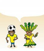 Brazilian Cartoon Couple Bubble Dialogue