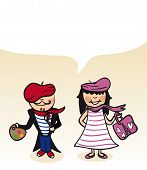 French Cartoon Couple Bubble Dialogue