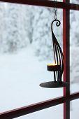 Decorative Candle Holder On Window