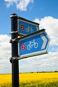 Directional sign on National Cycle Route in England