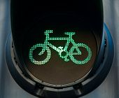 Green traffic light on cycle track