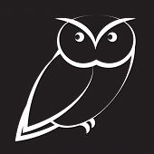 Cartoon Owl In Black