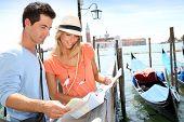 Tourists standing in front of San Giorgio Maggiore Island, Venice
