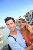 pic of academia  - Couple standing on the Academia Bridge in Venice - JPG