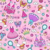stock photo of beauty pageant  - Princess Seamless Pattern Ballerina Tiara Groovy Fairy Tale Notebook Doodles Set with Tutu Dress - JPG