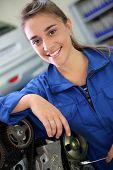 Portrait of student girl in auto mechanics
