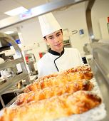 Bakery student preparing viennese pastries