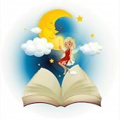 Illustration of a storybook with a fairy and a sleeping moon on a white background