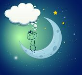 Illustration of a boy at the moon with an empty thought