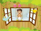 Illustration of a boy with a towel inside the bathroom