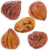 Cooked chestnut fruits set  isolated on white background