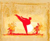 stock photo of kickboxing  - karate man silhouette Grunge poster on abstract background  - JPG