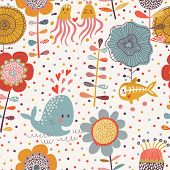 Cute floral seamless pattern with sea animals: whale, jellyfish and x-ray fish. Vector summer background with amazing flowers.