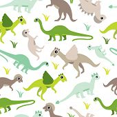 Seamless baby dinosaur animal illustration background boy pattern in vector