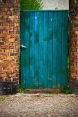 Door Wicket Gate Wooden Old Wall Brick Red