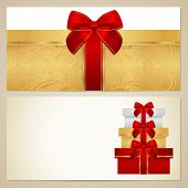Gift certificate (Voucher, Coupon) template with present (boxes), red bow (ribbons)