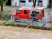 flood in 2013 in steyr, austria. floods and floods