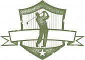Vintage Golf Crest with Blank Banner
