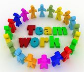 People stand around a word teamwork. Conception of cooperation is in a command. 3d illustration on a white background.