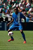 PASADENA, CA - JULY 7: Nicolas Zaire #2 of Martinique during the 2013 CONCACAF Gold Cup game between
