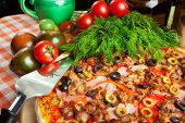 picture of hot fresh pizza  - Italian pizza with ingredients on a background - JPG