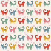 picture of cat-tail  - Cute pattern with color cats - JPG