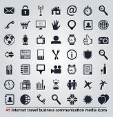 Vector Icons For Internet, Travel, Business, Communication And Media