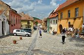 Street in Sighisoara medieval city, Romania