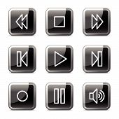 Walkman Web Icons, Black Square glanzende knoppen serie