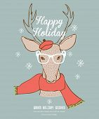 Rentier-Happy Holidays-Karte