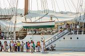 Spanish Navy Ship, Juan Sebastian Elcano, Docked In The Port Beside Of Niemeyer Center, In Aviles, S