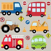 Cartoon  Vehicles, transport set