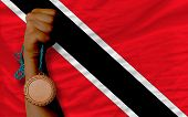 Bronze Medal For Sport And  National Flag Of Trinidad Tobago