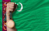 Bronze Medal For Sport And  National Flag Of Turkmenistan