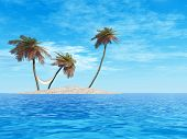 High resolution concept or conceptual isolated exotic island with palm trees with a hammock and sand