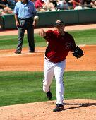 Arizona Diamondbacks Pitcher Brandon Webb Throws To First