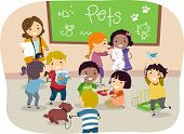 stock photo of stickman  - Illustration of Stickman Kids with their Pets in Classroom - JPG