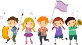 stock photo of wind instrument  - Illustration of Stickman Kids Marching Band - JPG