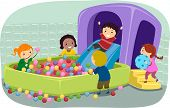 Illustration of Stickman Kids Playing in an Inflatable Ball Pit