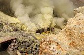 Ijen Volcano Crater Sulfur Mining