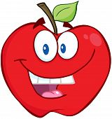 Smiling Apple Cartoon Mascot Character