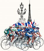 Vector illustration of a group of cyclists in competition in Paris