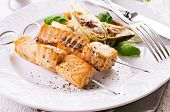 grilled salmon skewer