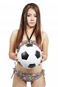 Woman Holding Football