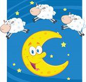 Three Cartoon Sheep Over A Moon
