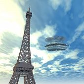 Eiffel Tower and Fantasy Airship