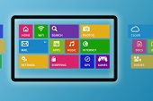 Illustration Of Digital Tablet With Colorful App Icons