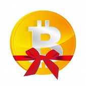 Bitcoin Coin  With Gift Bow Isolated