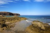 In Lanzarote   Spain  Rock Stone   Coastline And Summer