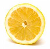 Half Lemon Macro Isolated On White